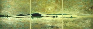 "View from Mill Pond, Golden Light  Oil and Cold Wax on Panel  24"" x 72"""